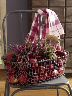 Fall fruits, flowers, and wire basket
