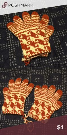 Gloves Handmade gloves from Mexicali Blues. Orange and white. Accessories Gloves & Mittens