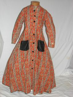Antique Victorian 1860s Civil War Wrapper Robe Morning Gown Maternity Dress?
