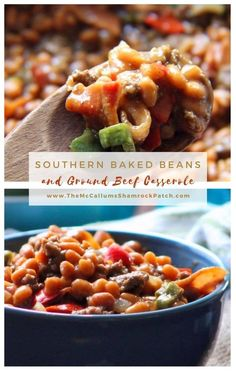 This Southern Baked Bean and Ground Beef Casserole is a total cinch to make, combining VanCamp's pork and beans, crisp bacon, lean ground beef, sweet red bell peppers, Jalapeno peppers, fresh onions, BBQ sauce, spicy brown mustard, and brown sugar.