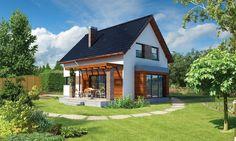 """""""Galowy"""" Murator C305 - mały, niespełna stumetrowy dom zaprojektowano z dbałością o każdy detal, wykorzystując w mniejszej skali funkcjonalne, a zarazem modne rozwiązania architektoniczne."""