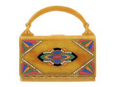 Exquisite Evening Bag - Vintage 1930s Art Deco Handbag, Butterscotch Bakelite Box Purse with Rhinestones & Multicolor Geometric Design. via Etsy.