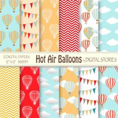 """Hot Air Balloons Digital Paper : """"HOT AIR BALLOONS"""" for scrapbooking, invites , cards - Buy 2 Get 1 Free by DigitalStories on Etsy"""
