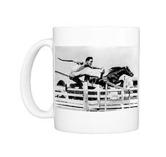 Race between the american hurdle runner Bob Far and an arab stallion, Los Angeles Photo Mug $29.99 - Fine Art Storehouse