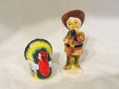 Vintage Salt Pepper Shaker Thanksgiving Turkey Colonial Hunter Settler