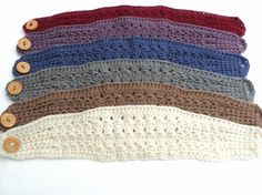 Star Stitch Wide Crochet Headband with large button closure - multicolor view - CROCHET PATTERN ONLY-