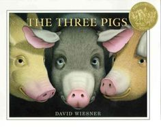 2002. The Three Pigs by David Wiesner  MM-CPSD Non-Fiction	 J 398.2 THREE LITTLE WIESNER The three pigs escape the wolf by going into another world where they meet the cat and the fiddle, the cow that jumped over the moon, and a dragon.