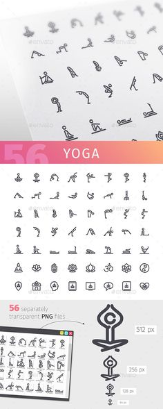 Yoga Line Icons Set — Vector EPS #pictogram #people • Available here ➝ https://graphicriver.net/item/yoga-line-icons-set/20621672?ref=pxcr