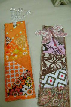 Bookmarks- change out the colors and fabrics and these would be beautiful!