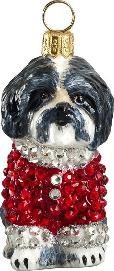 The Pet Set Black & White Shih Tzu with Austrian Crystals Glass Christmas Ornament - Handcrafted in Europe by Joy to the World Collectibles
