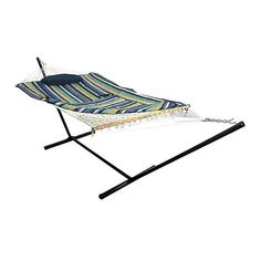 """Sunnydaze Cotton Rope 10' 5"""" Lakeview Hammock In Blue With Stand - The Cotton Rope Hammock provides a comfortable place to relax outside. Stretch out on the soft hammock pad and let the summer breeze rock you while you nap, read, or spend time with your family. It is the perfect way to enjoy sunny days in the yard. Backyard Hammock, Rope Hammock, Outdoor Hammock, Hammock Chair, Outdoor Chairs, Outdoor Blanket, Outdoor Furniture, Hammock Ideas, Courtyards"""