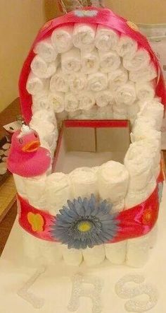 Rubber ducky buggy diaper cake