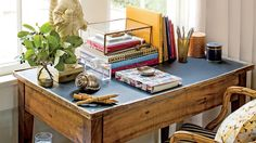 We enlisted our own Style Director Heather Chadduck Hillegas to show us how to transform functional spaces into high-style moments. Bookcase Organization, Small Space Organization, Desktop Organization, Organization Hacks, Organizing Tips, Desk In Living Room, Living Spaces, Work Spaces, Living Rooms