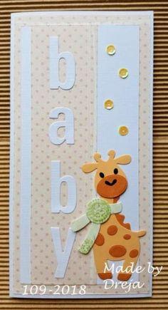 Dreja´s Bastelwelt: Babykarte mit Giraffe Dreja's craft world: baby card with giraffe Baby Girl Cards, New Baby Cards, Homemade Greeting Cards, Homemade Cards, Baby Scrapbook, Scrapbook Cards, Baby Shower Cricut, Kids Cards, Creative Cards