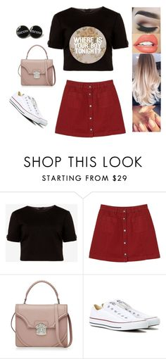 """""""Untitled #3620"""" by sigalv ❤ liked on Polyvore featuring TheBalm, Ted Baker, Monki, Alexander McQueen and Converse"""