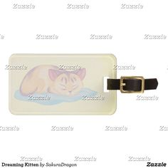 Dreaming Kitten Bag Tag #cats #pets #animals #dream #pastel