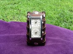 Women's Brown Tooled Leather Cuff Watch with Dual Time Zone Watch Face...$37 etsy