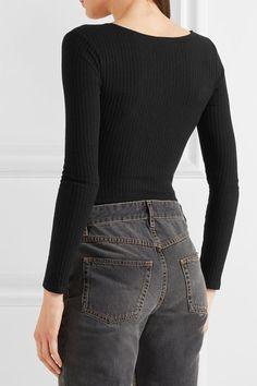 d1f89837931ed8 Splendid - Lace-up Ribbed Stretch-knit Bodysuit - Black