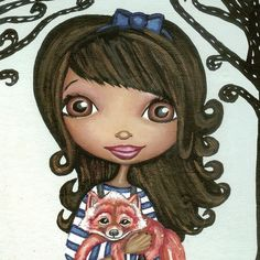 Fox And Little Girl Print by thedreamygiraffe on Etsy, $18.00