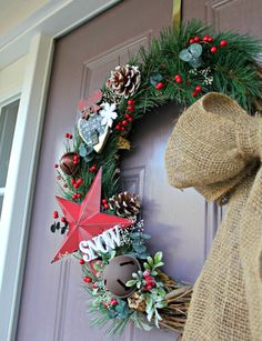 Red Star Home for the Holidays Holiday Wreath