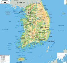 korea   Description : The Physical Map of South Korea showing major ...