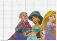 Disney Princesses Including Anna and Elsa from Frozen PDF Cross Stitch Pattern