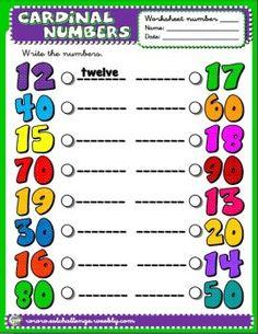 Cardinal numbers worksheet