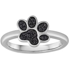 1/10 CT. T.W. Color-Enhanced Black Diamond Paw Print Ring ($75) ❤ liked on Polyvore featuring jewelry, rings, black diamond jewelry, black diamond ring, enhancer ring, enhancer jewelry and round ring
