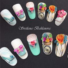 Elegant and Cute Acrylic Nail Designs, unique ideas for you to try in special day or event. Rose Nail Art, Rose Nails, 3d Nail Art, 3d Nails, Flower Nails, Cute Acrylic Nail Designs, Cute Acrylic Nails, Beautiful Nail Designs, Nail Art Designs