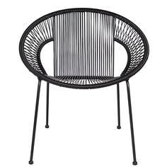 This stylish cocktail chair is perfect for lounging in on a sunny day. Absolutely brilliant for the gardenor the patio but just as great indoors. You'll probably find yourself spending just a little too much time sitting around. Features and Benefits:      Sturdy high quality build.     Metal finish.     Available in black.     Great for the patio or conservatory.     Dimensions: Height 73cm Width 69cm Depth 65cm.