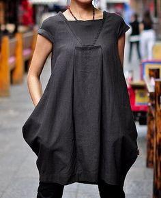 Puff Hem Side Pocket Linen Dresses