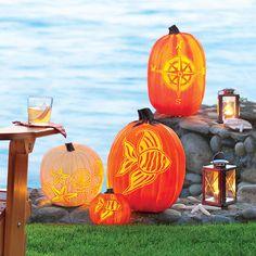 Free coastal pumpkin-carving templates: fish, seashells, and more!