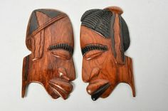 2 Wooden Hand Carved African Tribal Wall Hanging Decorative Faces Set