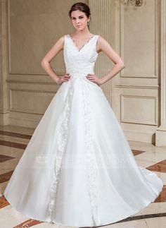 Wedding Dresses - $185.99 - A-Line/Princess V-neck Chapel Train Taffeta Wedding Dress With Lace Beadwork Sequins (002001221) http://jjshouse.com/A-Line-Princess-V-Neck-Chapel-Train-Taffeta-Wedding-Dress-With-Lace-Beadwork-Sequins-002001221-g1221