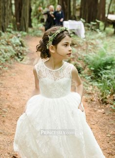 """Ivory Lace Tulle Flower Girl Dress "" ---- Princessly.com Customer Photos"
