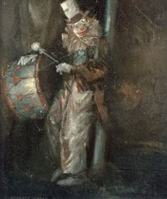 everett shinn clown with drum -