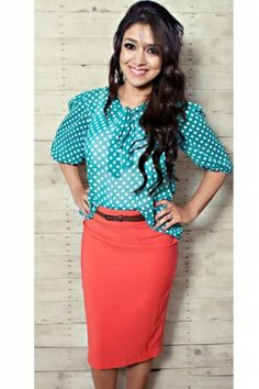 blue & white polka dot chiffon blouse and belted coral pencil skirt