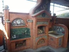 Pizza Oven Fireplace, Outside Grill, Brick Projects, Barbecue Pit, Brick Masonry, Wood Stove Cooking, Brick Art, Backyard, Patio