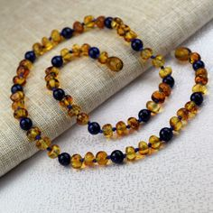 """Amber necklace, Baltic amber, Genuine Baltic Amber Adult Necklace 18"""". Jewelry for Men and Women. Lapis lazuli Round Shape Natural Stone"""