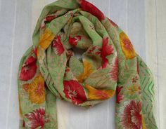 Long Scarf Indian Sari Scarf Green Floral Small Scarf