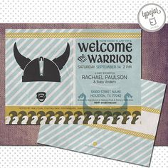 Welcome the littlest warrior with this retro baby Viking invite. $13.99, Etsy.