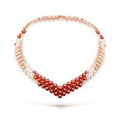 Bouton d'or necklace, pink gold, white mother-of-pearl, carnelian, diamonds