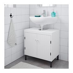IKEA - SILVERÅN, Wash-basin base cabinet w 2 doors, , Adjustable feet for increased stability and protection against floor moisture.A good solution if you are short of space.