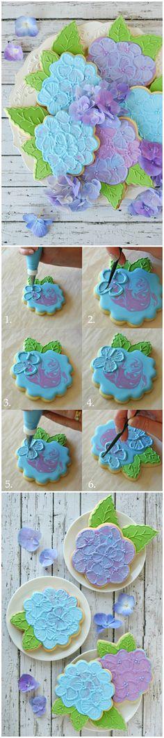 Recipe ● Tutorial ● Hydrangea Cookies