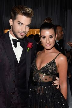 Adam Lambert and Lea Michele at Elton John's 2017 Oscars Viewing Party
