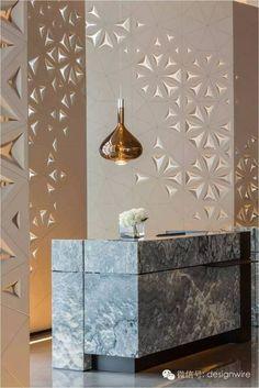CCD was curated to design Shenzhen Marriott Hotel Nanshan Modern Reception Desk, Reception Desk Design, Reception Counter, Hotel Reception Desk, Reception Areas, Hotel Lobby Design, H Design, Wall Design, Design Ideas