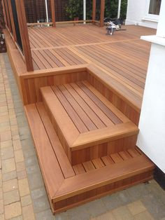 Yellow Balau Deck and steps. corner of steps trimmed with 10 x Yellow Balau Yellow Balau Deck and steps. corner of steps trimmed with. Cool Deck, Diy Deck, Deck Patio, Deck Planters, Wood Deck Designs, Small Deck Designs, Hardwood Decking, Deck Steps, Modern Deck