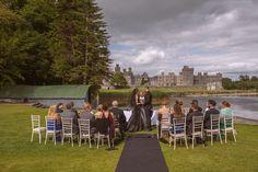 The bride wore a black wedding dress at Ashford Castle lawn ceremony Outdoor Ceremony, Wedding Ceremony, Romantic Weddings, Real Weddings, Ashford Castle Ireland, West Coast Of Ireland, Irish Wedding, Black Wedding Dresses, Old World Charm