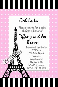 Eiffel Tower Paris themed baby shower invitations. Any color scheme. Design online download and print immediately