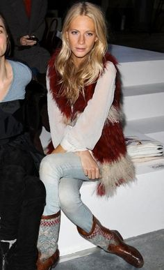 The fur vest is like the cherry on top of this look